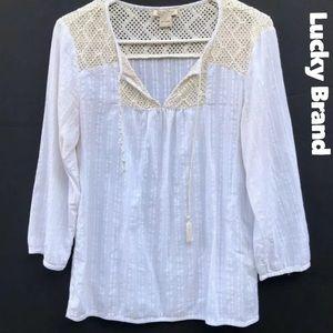 Lucky Brand White crotchet boho blouse